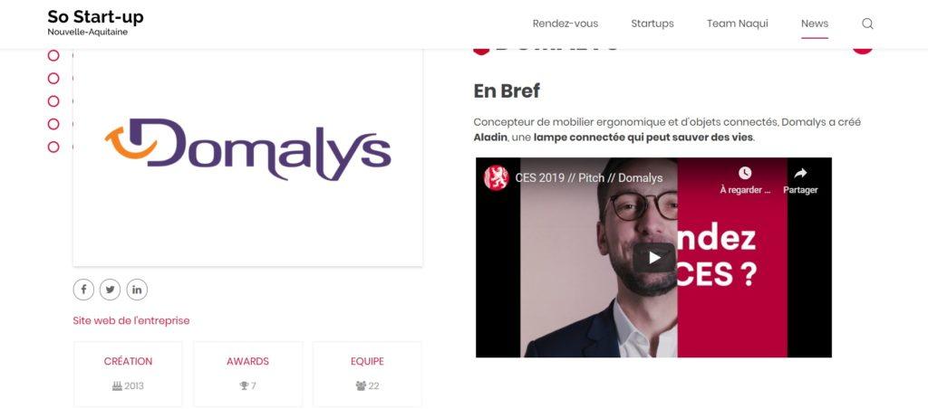Domalys startup de nouvelle aquitaine silver economie
